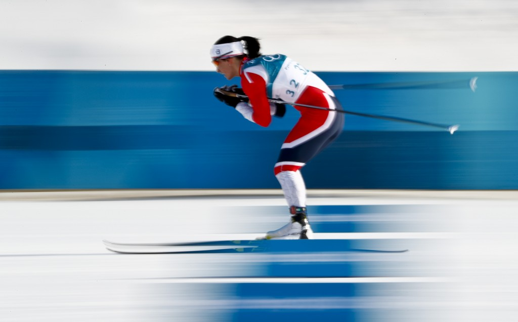 Marit  Bjoergen, of Norway, competes during the women's 10km freestyle cross-country skiing competition at the 2018 Winter Olympics in Pyeongchang, So