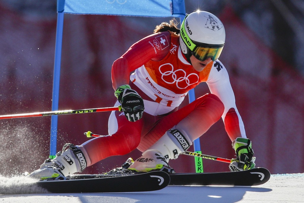 Manuela Moelgg, of Italy, passes a gate during the first run of the Women's Giant Slalom at the 2018 Winter Olympics in Pyeongchang, South Korea, Thur