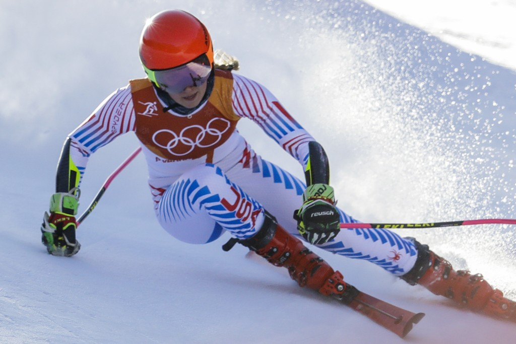 Mikaela Shiffrin, of the United States, skis during the first run of the Women's Giant Slalom at the 2018 Winter Olympics in Pyeongchang, South Korea,