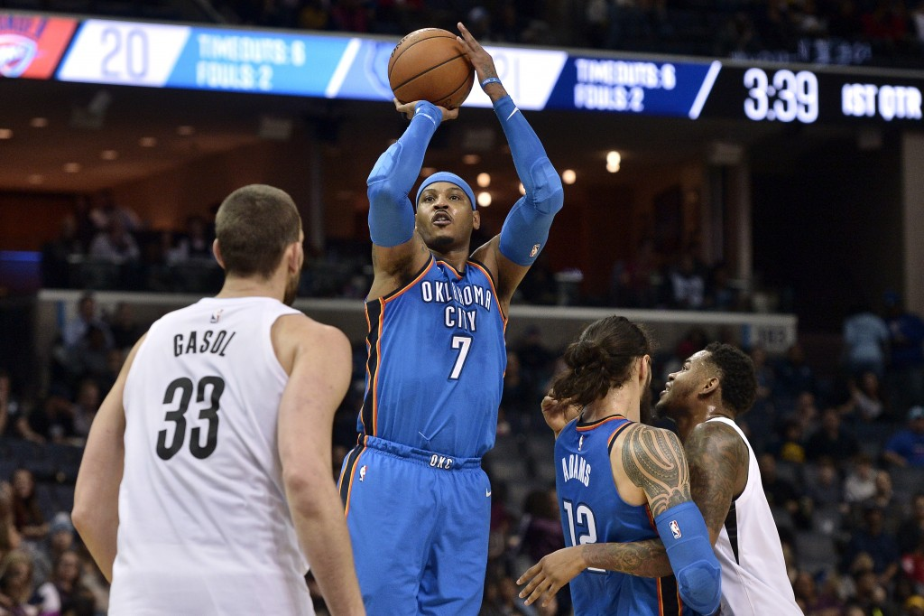 Oklahoma City Thunder forward Carmelo Anthony (7) shoots ahead of Memphis Grizzlies center Marc Gasol (33) as Thunder center Steven Adams (12) and Gri