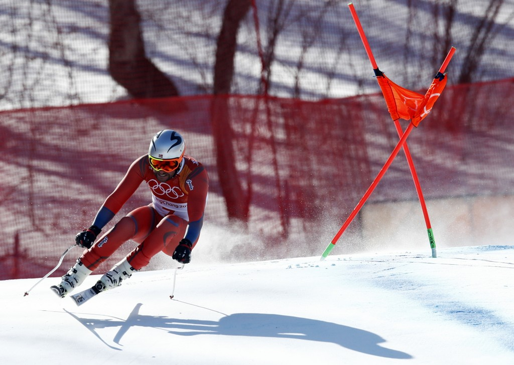Norway's Aksel Lund Svindal skis during the men's downhill at the 2018 Winter Olympics in Jeongseon, South Korea, Thursday, Feb. 15, 2018. (AP Photo/P