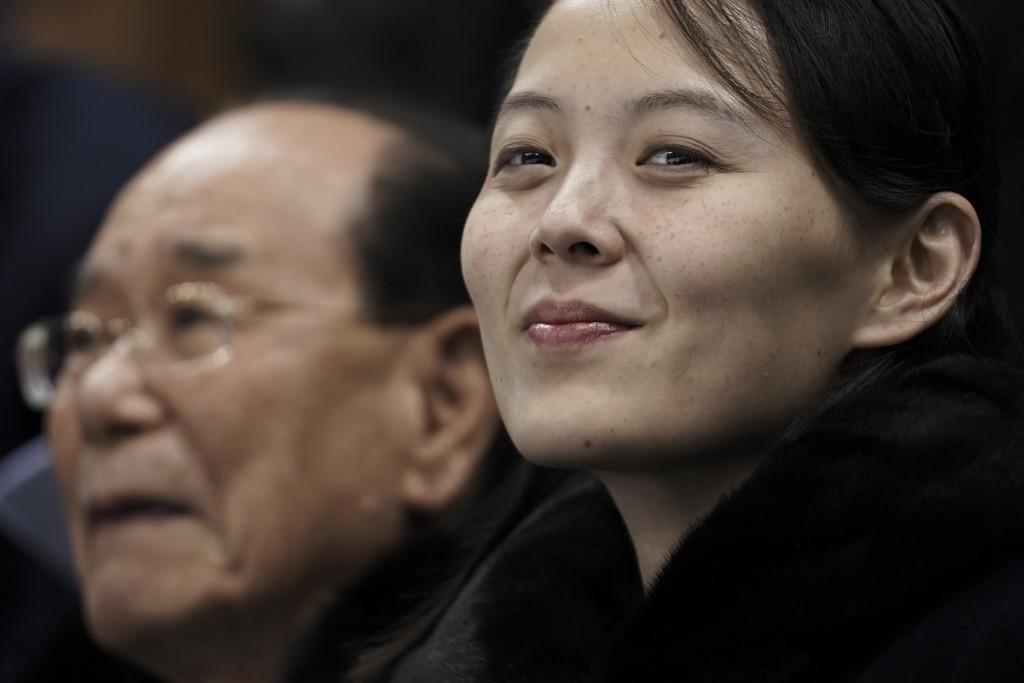 FILE - In this Feb. 10, 2018 file photo, Kim Yo Jong, sister of North Korean leader Kim Jong Un, right, and North Korea's nominal head of state Kim Yo...