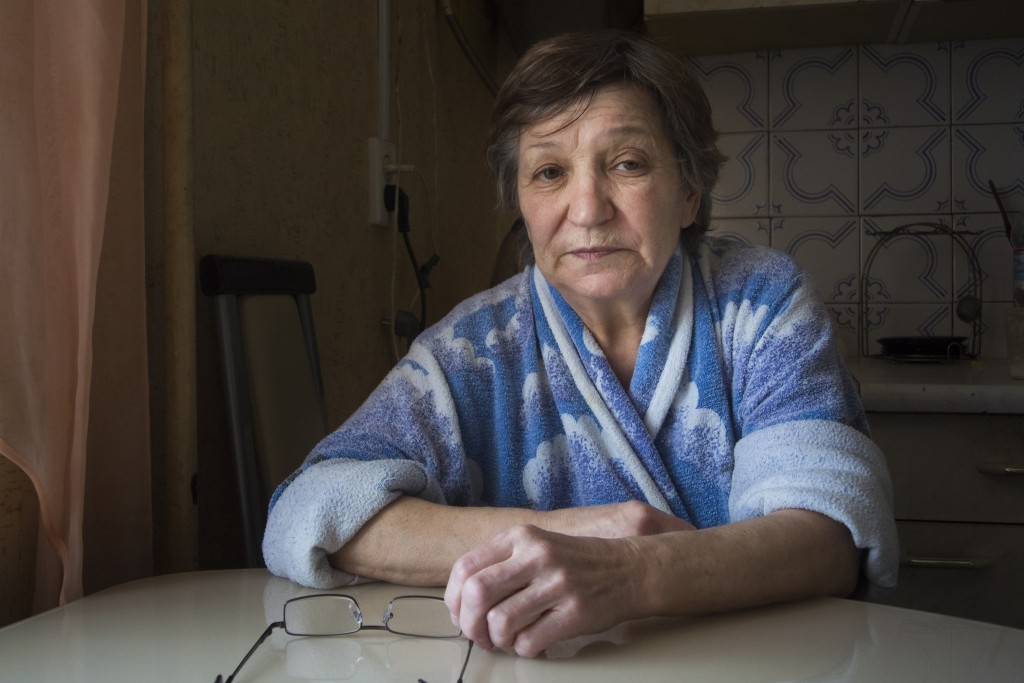 Farkhanur Gavrilova, mother of Ruslan Gavrilov who is reported to have killed in Syria, looks on while speaking to the Associated Press in the village