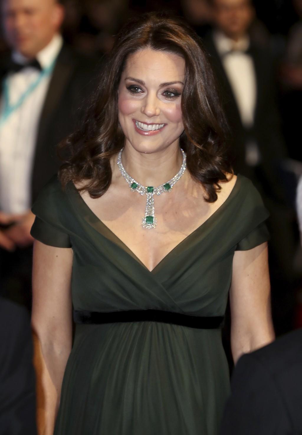 Britain's Kate, Duchess of Cambridge arrives for the BAFTA 2018 Awards in London, Sunday, Feb. 18, 2018. (Chris Jackson/Pool via AP)