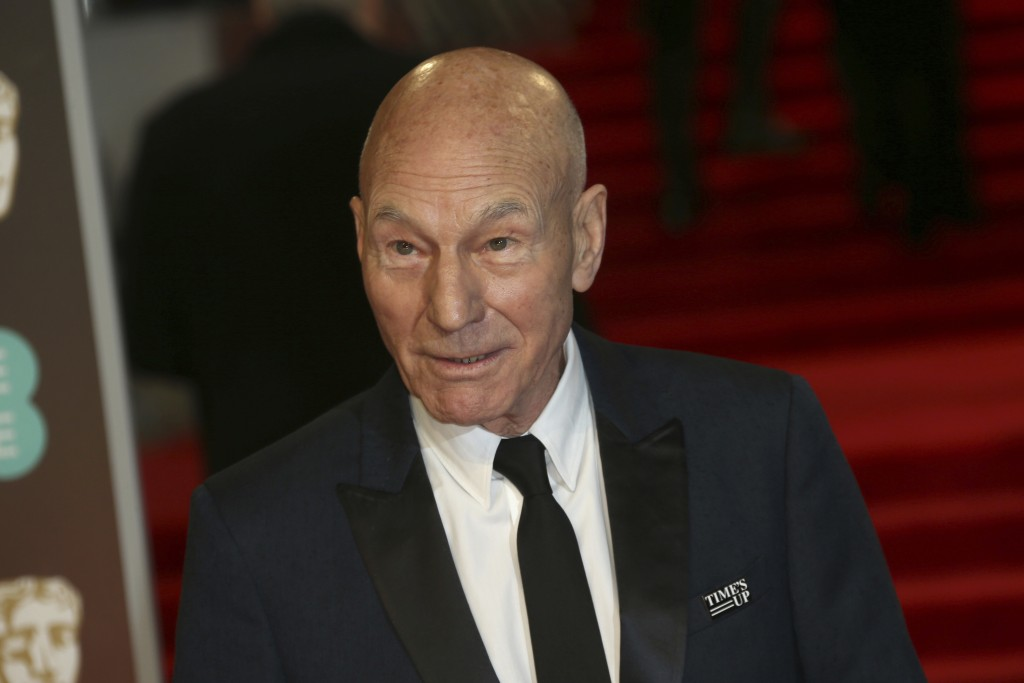 Actor Sir Patrick Stewart poses for photographers upon arrival at the BAFTA 2018 Awards in London, Sunday, Feb. 18, 2018. (Photo by Joel C Ryan/Invisi...