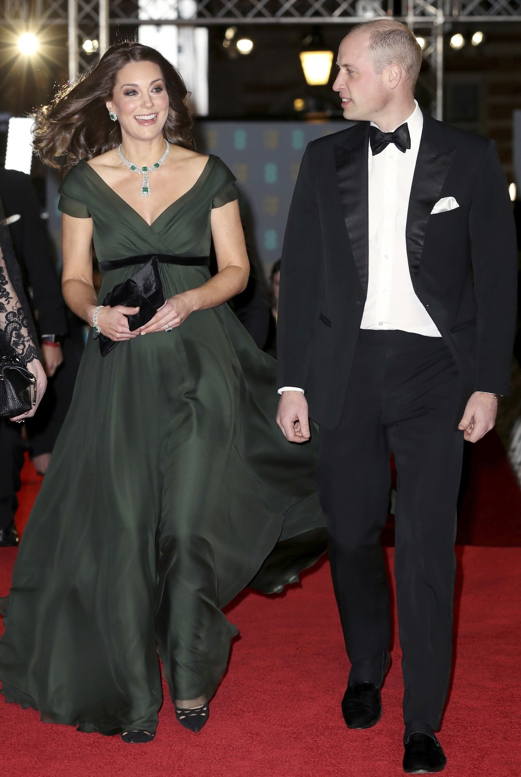 Britain's Prince William and Kate, Duchess of Cambridge arrive for the BAFTA 2018 Awards in London, Sunday, Feb. 18, 2018. (Chris Jackson/Pool via AP)