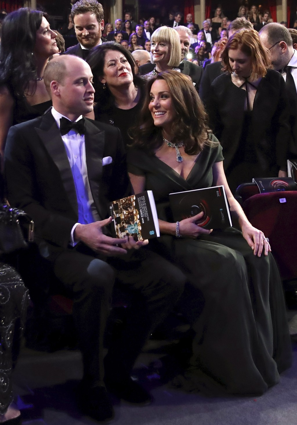 Britain's Prince William and Kate, Duchess of Cambridge attend the BAFTA 2018 Awards in London, Sunday, Feb. 18, 2018. (Chris Jackson/Pool via AP)