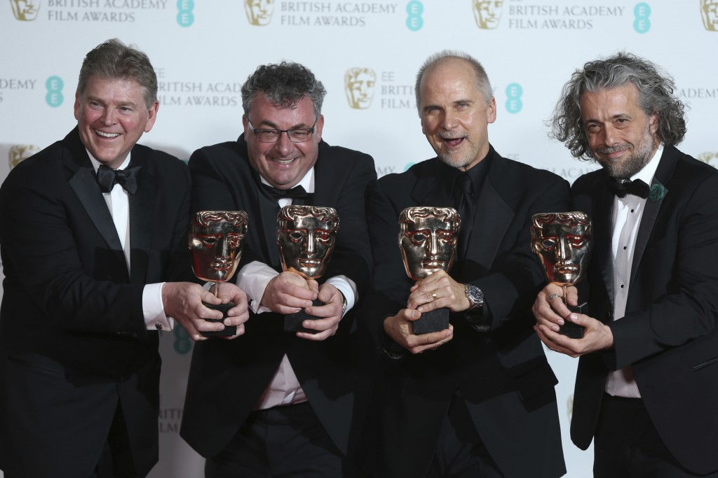 Richard R Hoover, from left, Gerd Nefzer, John Nelson and Paul Lambert with their awards for Special Visual Effects for 'Blade Runner 2049' backstage ...