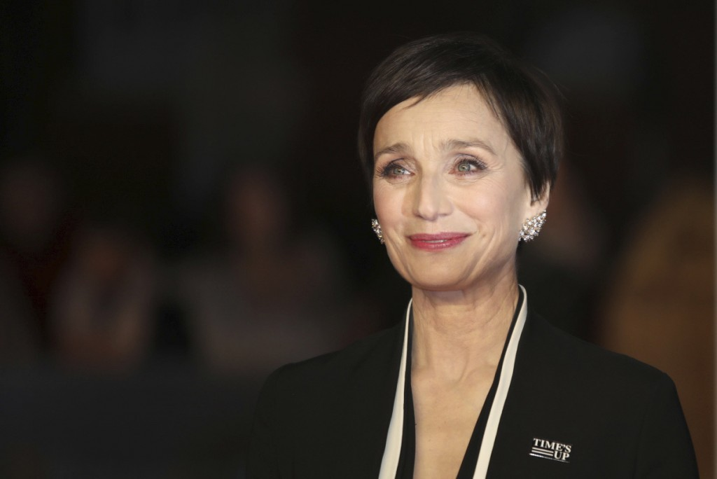 Actress Kristin Scott Thomas poses for photographers upon arrival at the BAFTA Awards 2018 in London, Sunday, Feb. 18, 2018. (Photo by Vianney Le Caer...