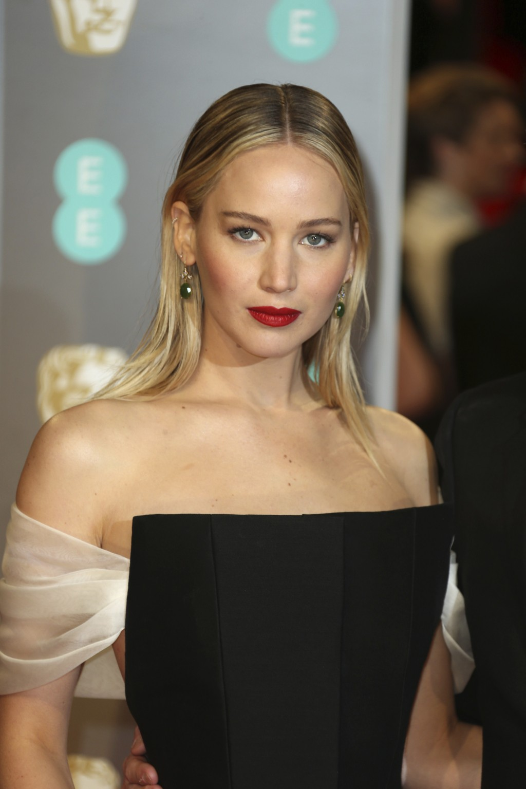 Actress Jennifer Lawrence poses for photographers upon arrival at the BAFTA 2018 Awards in London, Sunday, Feb. 18, 2018. (Photo by Joel C Ryan/Invisi...
