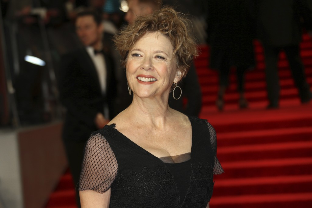 Actress Annette Bening poses for photographers upon arrival at the BAFTA 2018 Awards in London, Sunday, Feb. 18, 2018. (Photo by Joel C Ryan/Invision/...