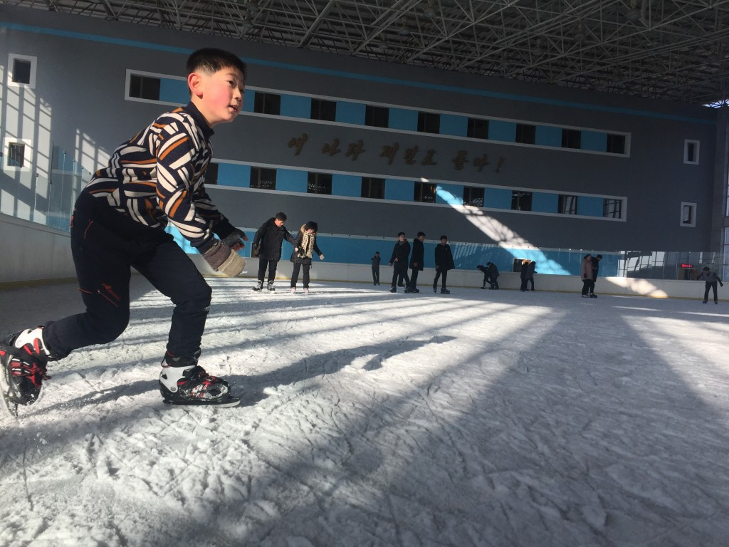 In this Feb. 1, 2018 photo, a North Korean boy enjoys a day off during winter break from school at the Indoor Skating Rink in Pyongyang, North Korea. ...