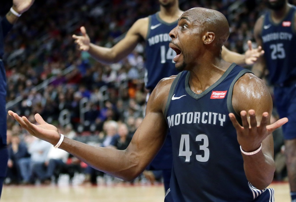 e652d26682d Detroit Pistons forward Anthony Tolliver (43) reacts after being whistled  for a foul while