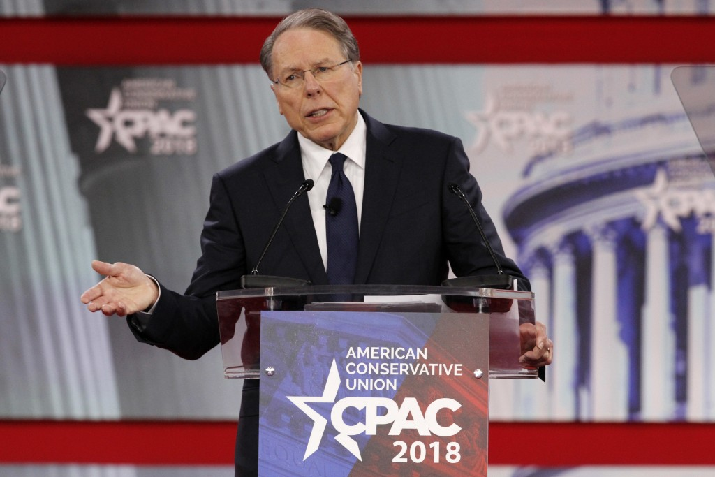 FILE- In this Thursday, Feb. 22, 2018, file photo, National Rifle Association Executive Vice President and CEO Wayne LaPierre, speaks at the Conservat...