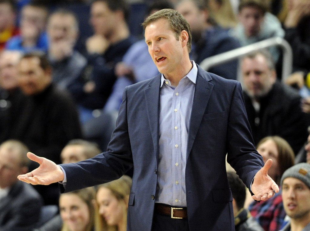 Chicago Bulls head coach Fred Hoiberg reacts to a call as his team plays against the Minnesota Timberwolves during the third quarter of an NBA basketb...