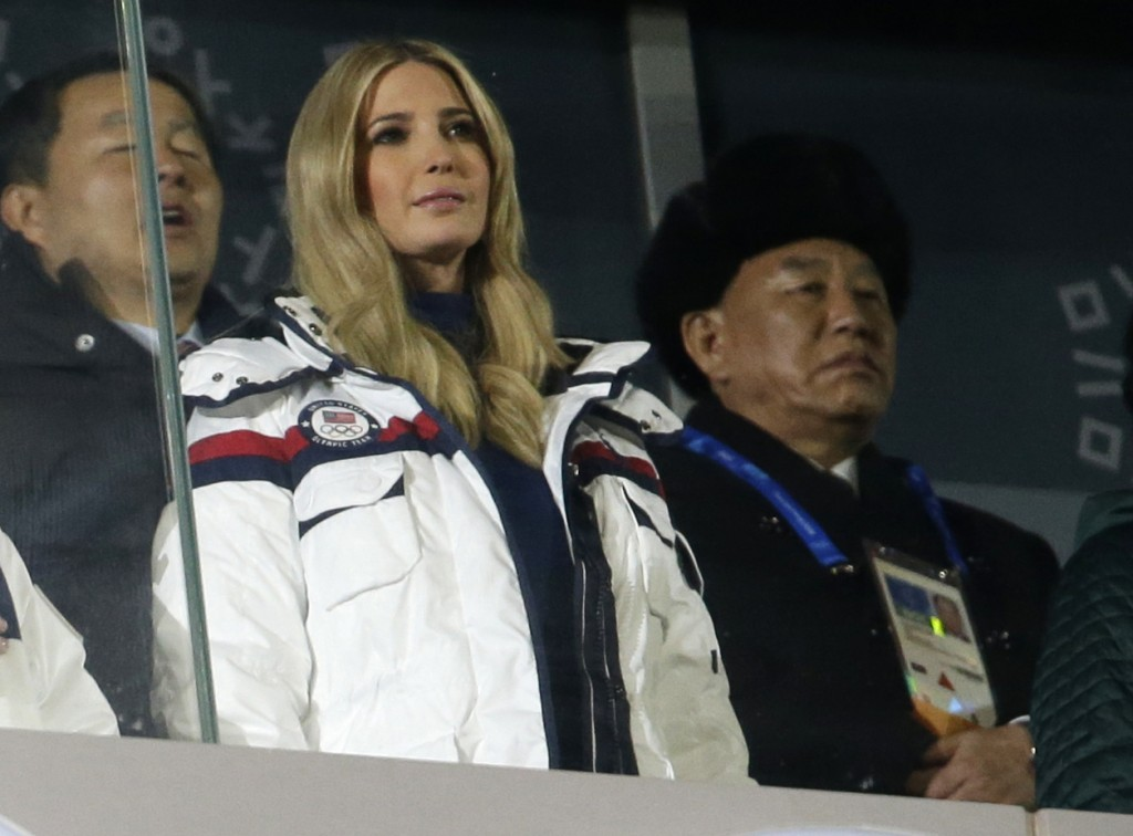 In this Feb. 25, 2018 photo, Ivanka Trump, front left, U.S. President Donald Trump's daughter and Kim Yong Chol, vice chairman of North Korea's ruling...