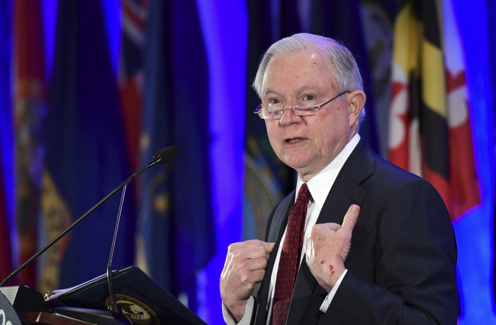 Attorney General Jeff Sessions delivers remarks to the National Association of Attorneys General at their Winter Meeting in Washington, Tuesday, Feb. ...