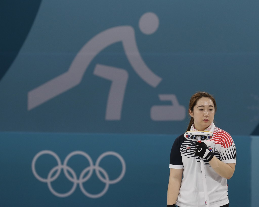 FILE - In this Feb. 25, 2018, file photo, Kim Yeong-mi of South Korea watches during her women's curling final in the Gangneung Curling Centre at the ...