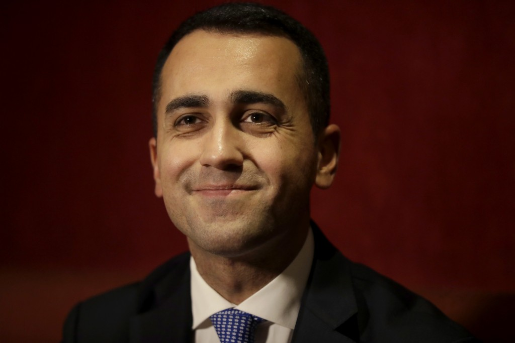 FILE - In this Jan. 31, 2018 file photo, Italian 5-Star Movement's Prime Ministerial candidate Luigi Di Maio smiles during a press conference ahead of