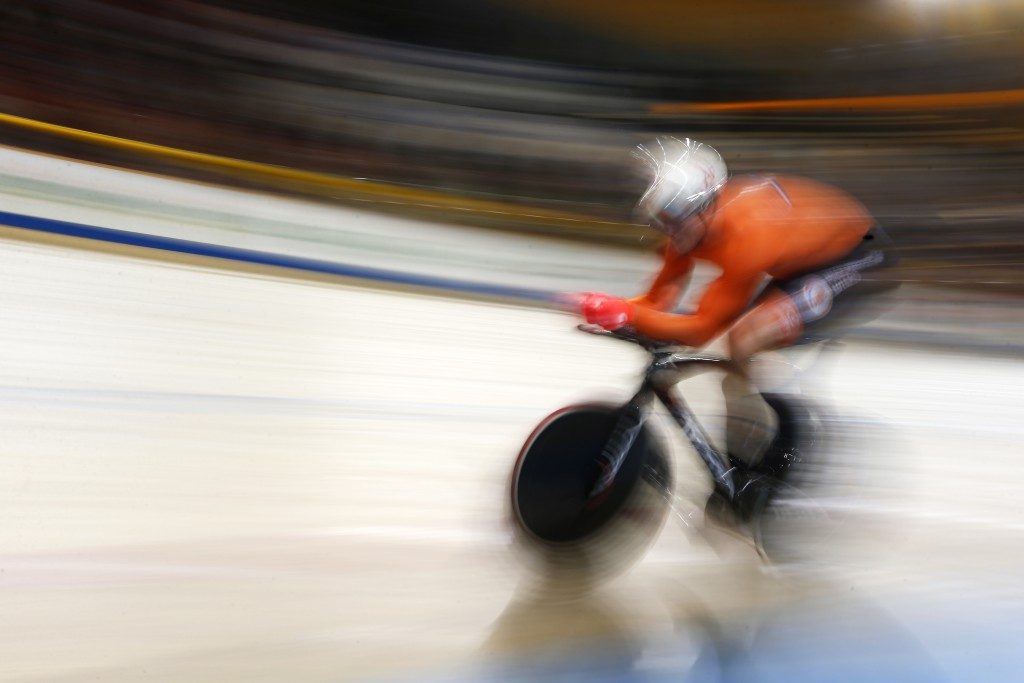 World champion Jeffrey Hoogland of The Netherlands competes in the men's 1 kilometer time trial race at the World Championships Track Cycling in Apeld...