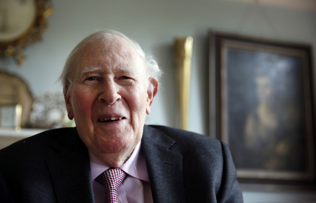 FILE- In this photo taken Monday, April 28, 2014, Roger Bannister, who as a young man was the first person to break the 4-minute barrier for the mile ...