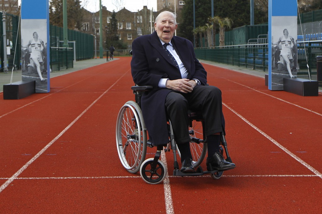 FILE - In tis file photo dated Wednesday, Feb. 26, 2014, former British athlete Roger Bannister poses for a picture during the launch of the Westminst...