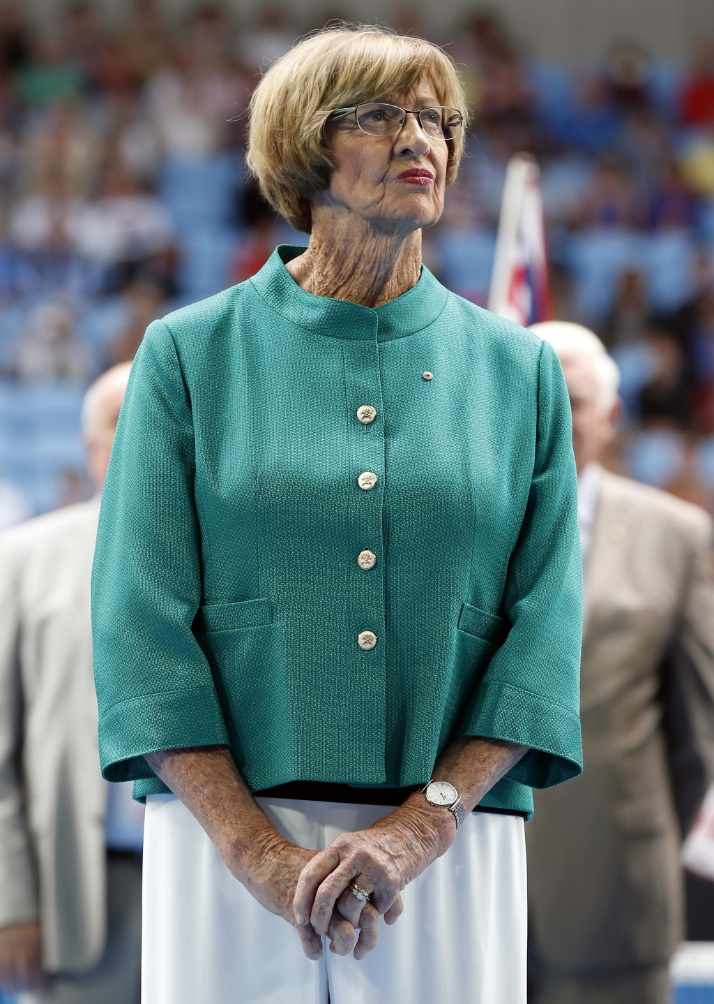 FILE - In this Jan. 26, 2015, file photo, Australian tennis great Margaret Court looks on during the official launch of the remodeled Margaret Court A...