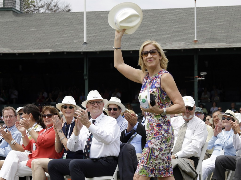 FILE - In this July 22, 2017, file photo, Tennis Hall of Famer Chris Evert waves to applause as she arrives at the International Tennis Hall of Fame i...