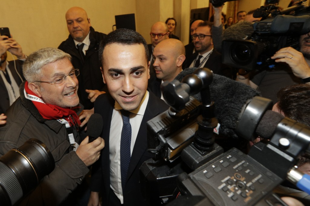 5-Stars Movement's leader Luigi Di Maio arrives for a press conference on the preliminary election results, in Rome, Monday, March 5, 2018. With the a...