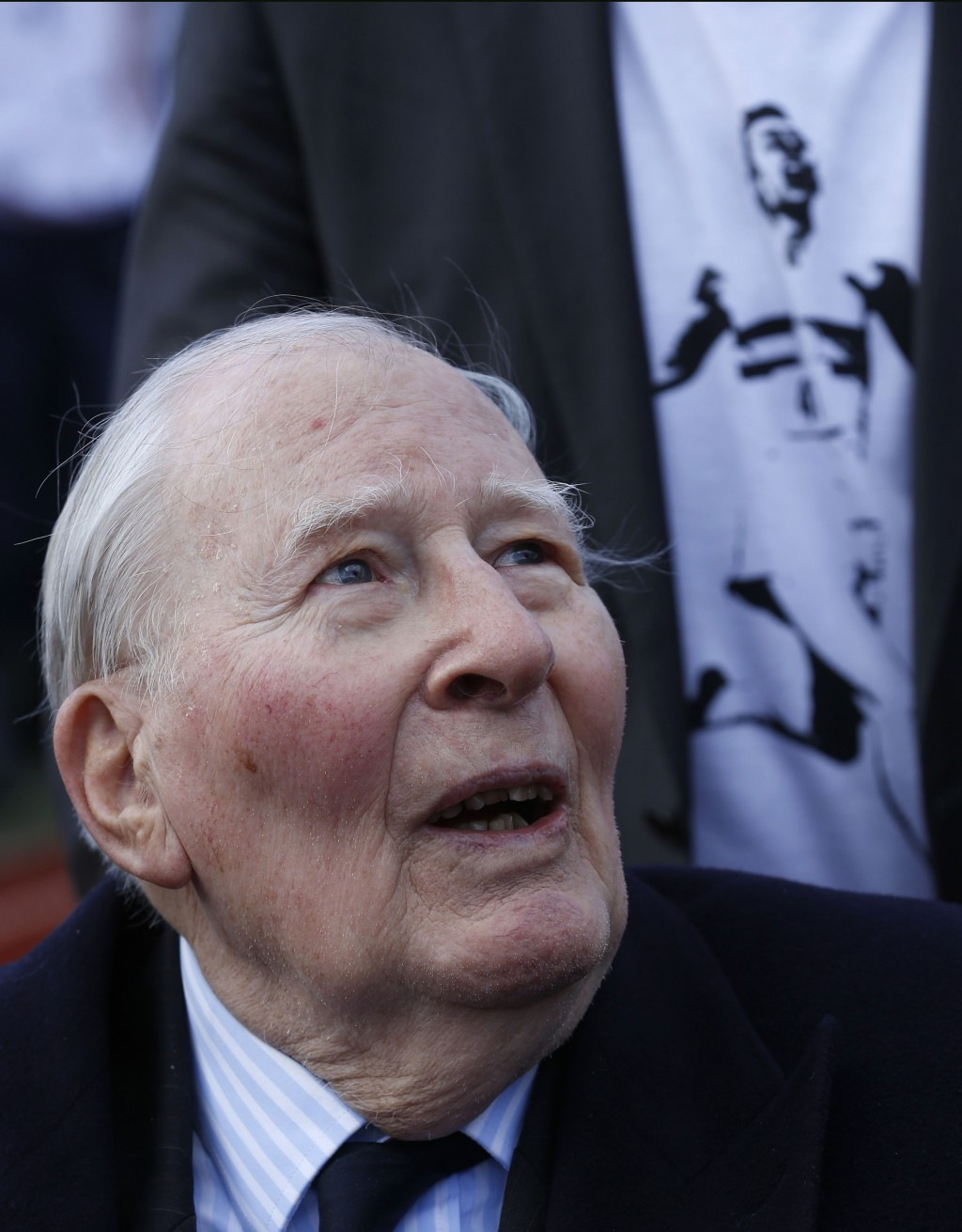 FILE - In this Wednesday, Feb. 26, 2014 file photo former British athlete Sir Roger Bannister talks to the media during the launch of the Westminster ...