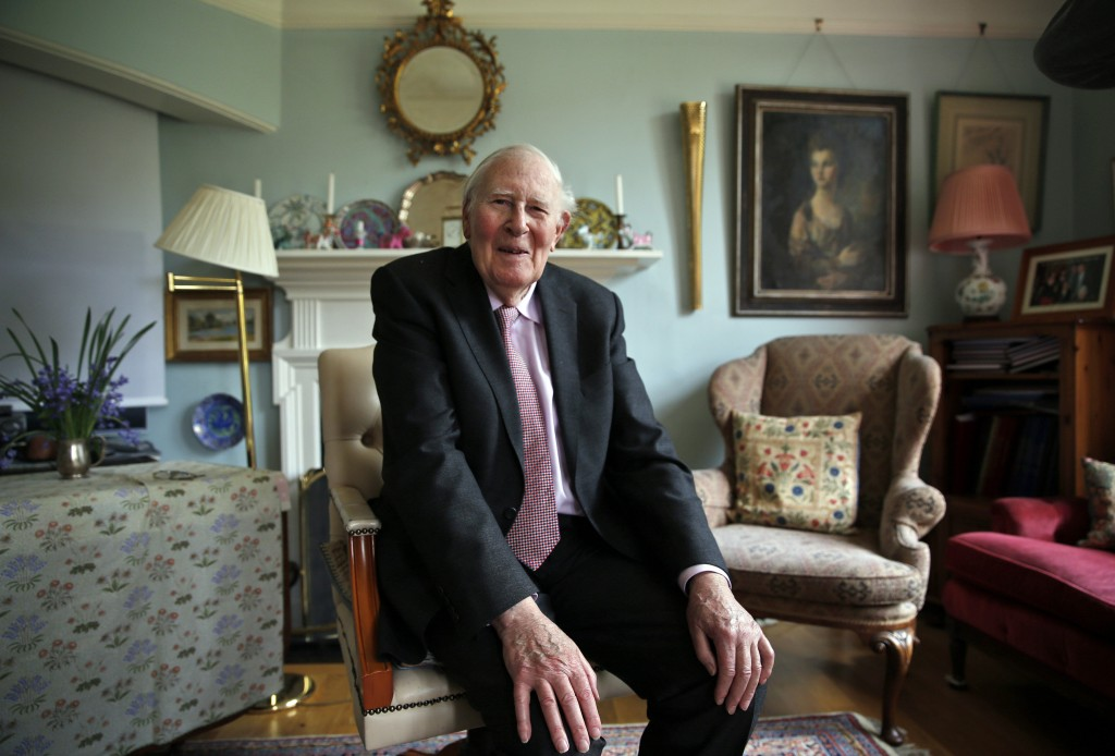 FILE - In this Monday, April 28, 2014 file photo, Roger Bannister, 85, who as a young man was the first person to break the 4-minute barrier in the mi...