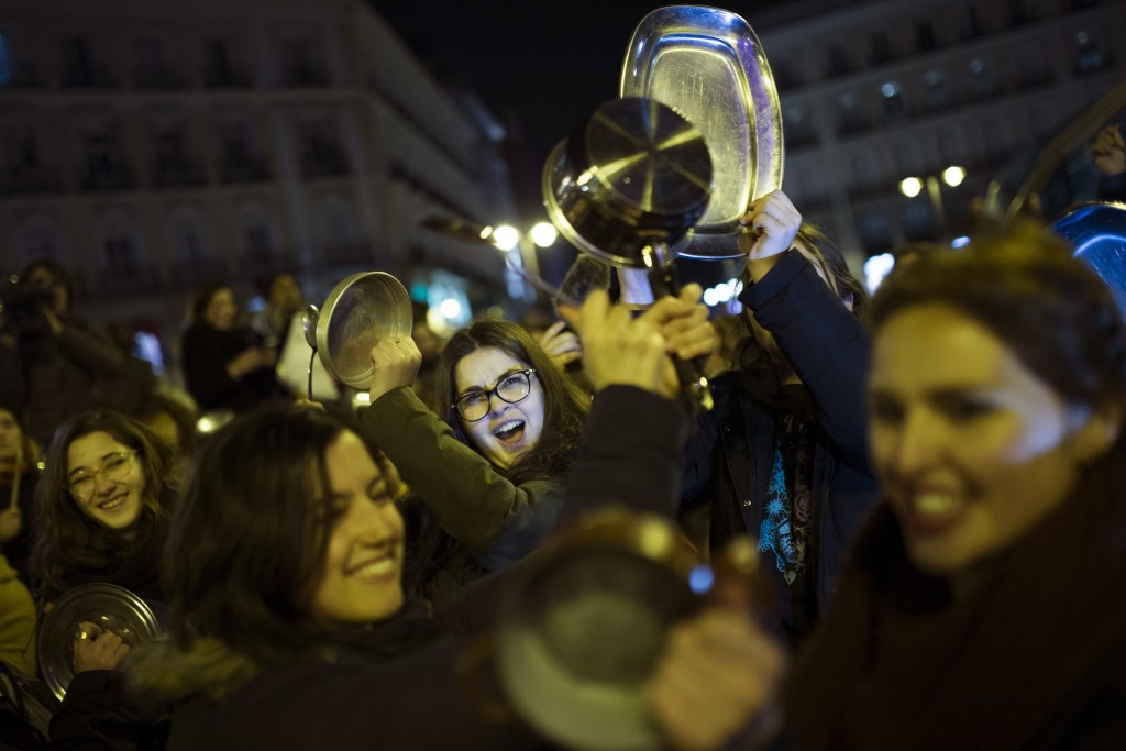 Spanish women give up work for a day in first 'feminist strike'