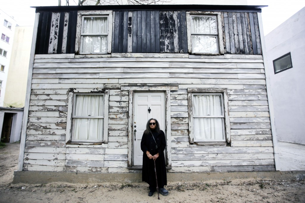 FILE - In this April 6, 2017 file photo, Rhea McCauley, a niece of the late civil rights activist Rosa Parks, poses in front of the rebuilt house of R