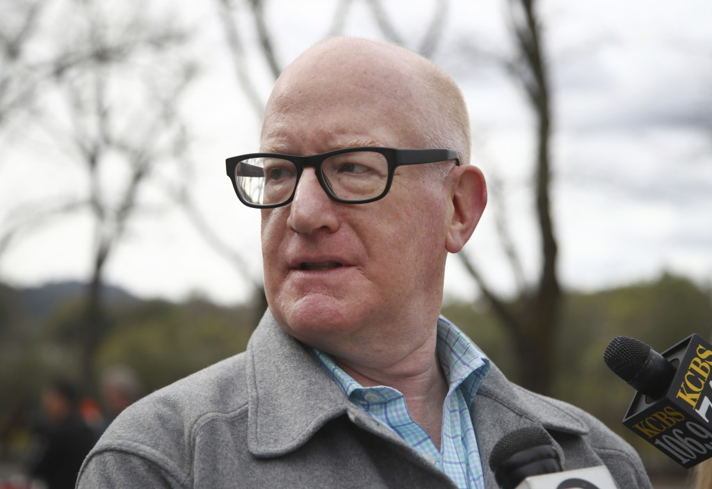 Larry Kamer speaks to reporters at the Veterans Home of California, Friday March 9, 2018, in Yountville, Calif. Kamer is the husband of Devereau Smith