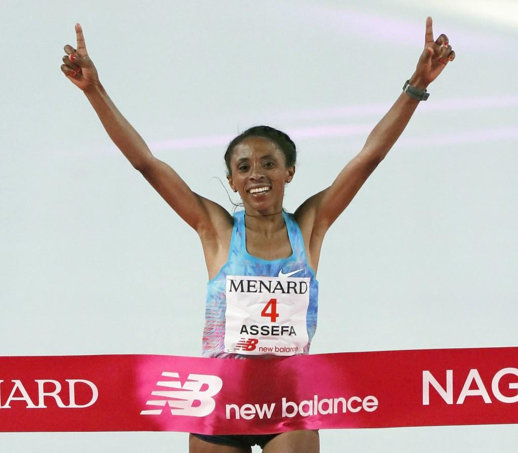 Meskerem Assefa of Ethiopia crosses the finish line, winning Nagoya Women's Marathon in Nagoya, central Japan, Sunday, March 11, 2018. Assefa won with