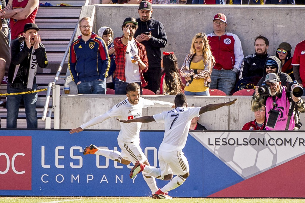 Los Angeles FC forwards Diego Rossi (9) and Latif Blessing (7) celebrate Rossi's goal against Real Salt Lake during an MLS soccer match at Rio Tinto S