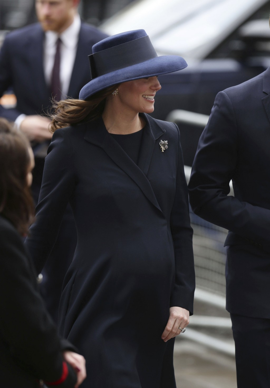 Britain's Princess Kate The Duchess of Cambridge arrives with other family members for the Commonwealth Service at Westminster Abbey in London, Monday