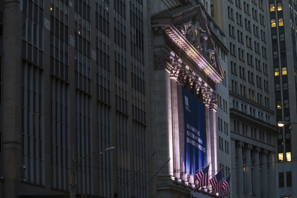 FILE - This Oct. 25, 2016, file photo shows the New York Stock Exchange in Lower Manhattan. The U.S. stock market opens at 9:30 a.m. EST on Monday, Ma