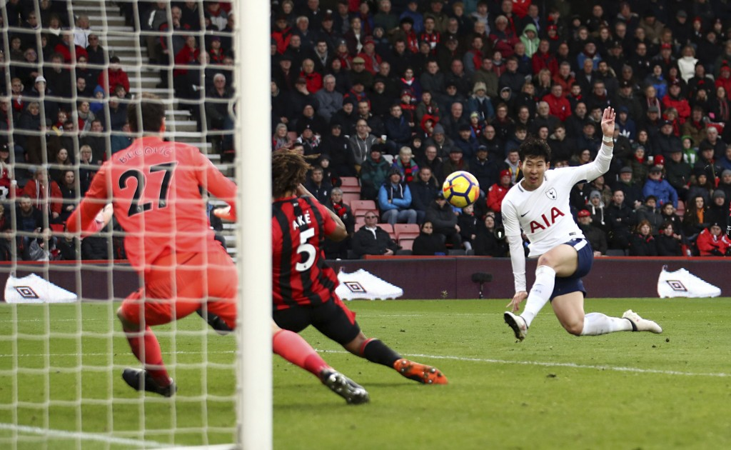 Tottenham Hotspur's Son Heung-Min scores his side's second goal of the game against AFC Bournemouth during their English Premier League soccer match a