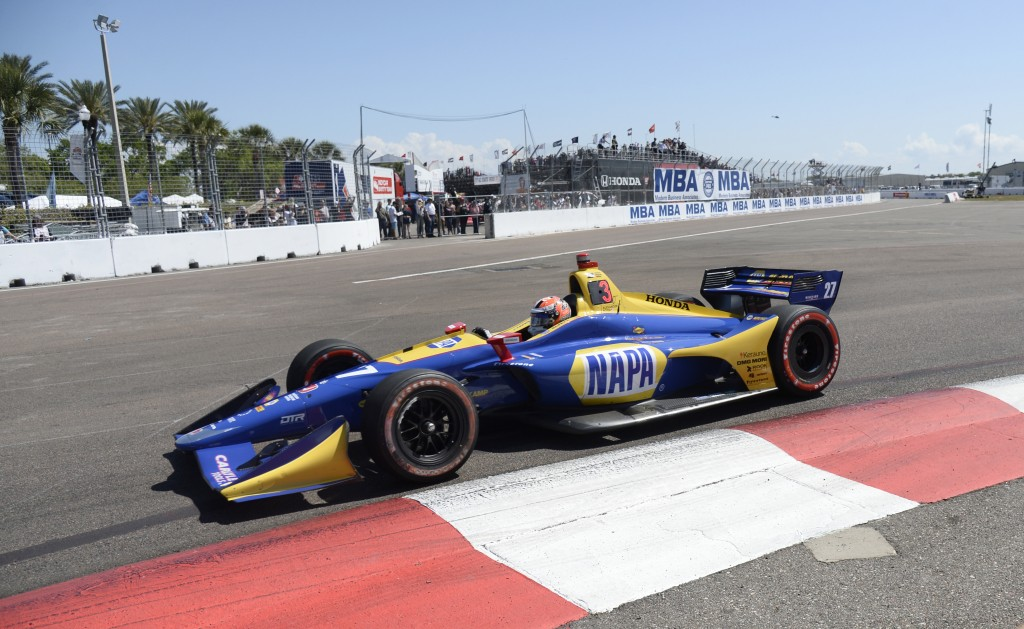 Alexander Rossi (27) races into turn two before finishing third in the IndyCar Firestone Grand Prix of St. Petersburg Sunday, March 11, 2018, in St. P