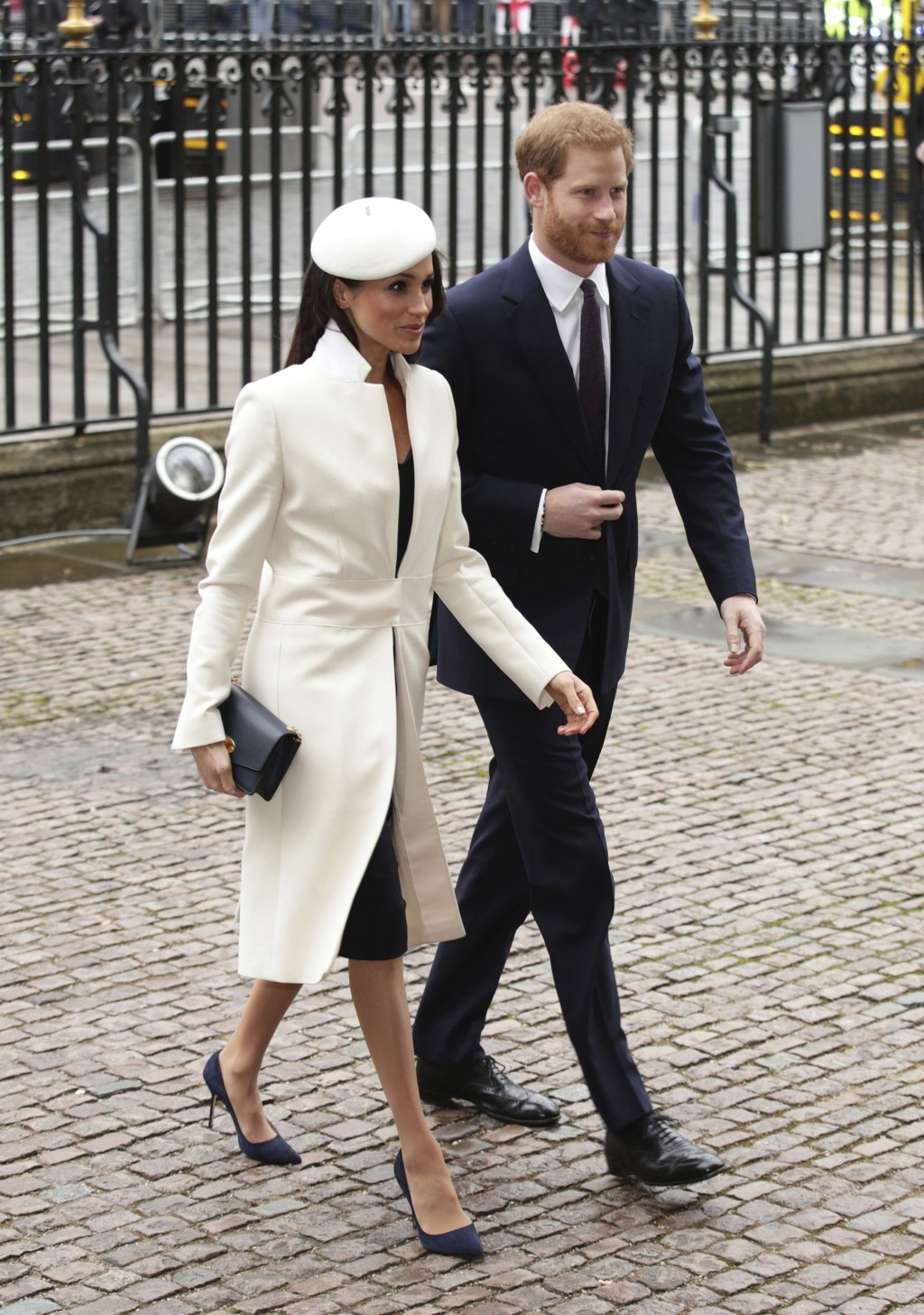 Britain's Prince Harry and Meghan Markle, arrive for the Commonwealth Service at Westminster Abbey in London, Monday March 12, 2018. (Yui Mok/PA via A