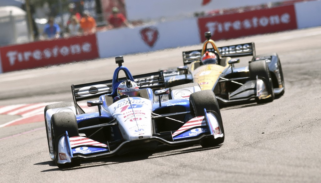 Graham Rahal (15) races into turn two before finishing second in the IndyCar Firestone Grand Prix of St. Petersburg Sunday, March 11, 2018, in St. Pet