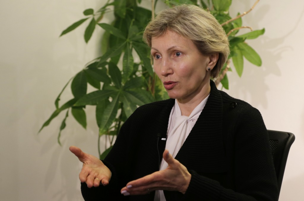 Marina Litvinenko during an interview with the AP in Berlin, Germany, Monday, March 12, 2018. (AP Photo/Ferdinand Ostrop)