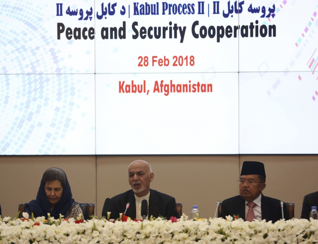 FILE - In this Wednesday, Feb. 28, 2018 file photo, Afghanistan's President Ashraf Ghani, center, speaks during the 2nd Kabul Process conference at th...