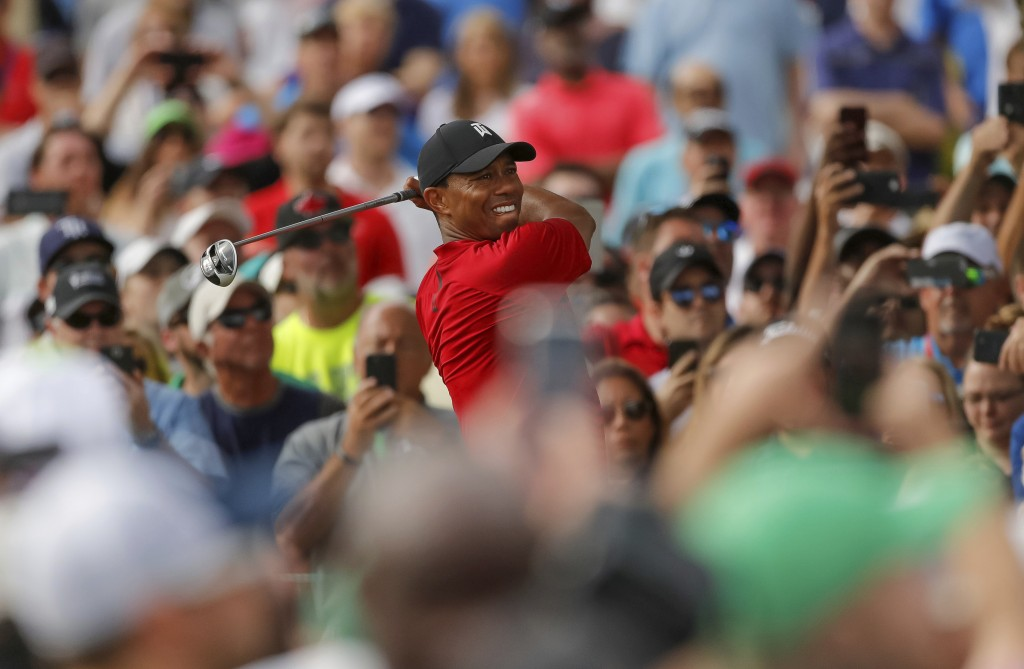 Tiger Woods tees off on the 16th hole during the final round of the Valspar Championship golf tournament Sunday, March 11, 2018, in Palm Harbor, Fla.