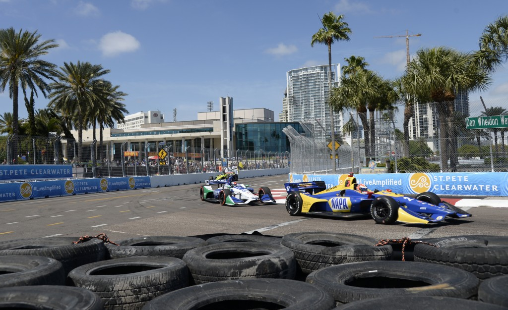 Alexander Rossi (27) and Marco Andretti (98) race through Turn 10 during the IndyCar Firestone Grand Prix of St. Petersburg, Sunday, March 11, 2018, i