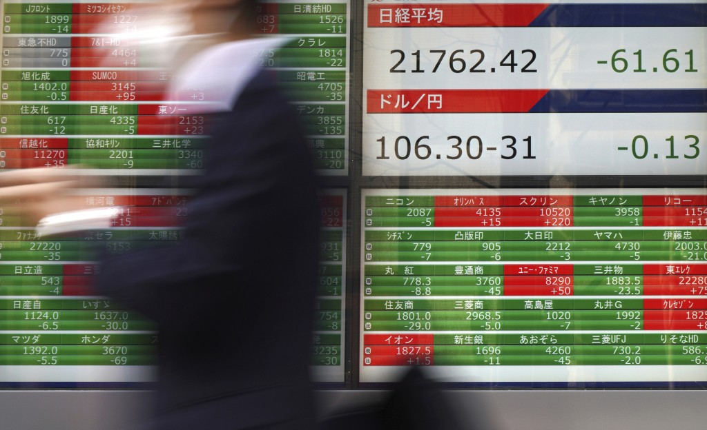 A man walks past an electronic stock board showing Japan's Nikkei 225 index at a securities firm in Tokyo Tuesday, March 13, 2018. Shares were mixed i