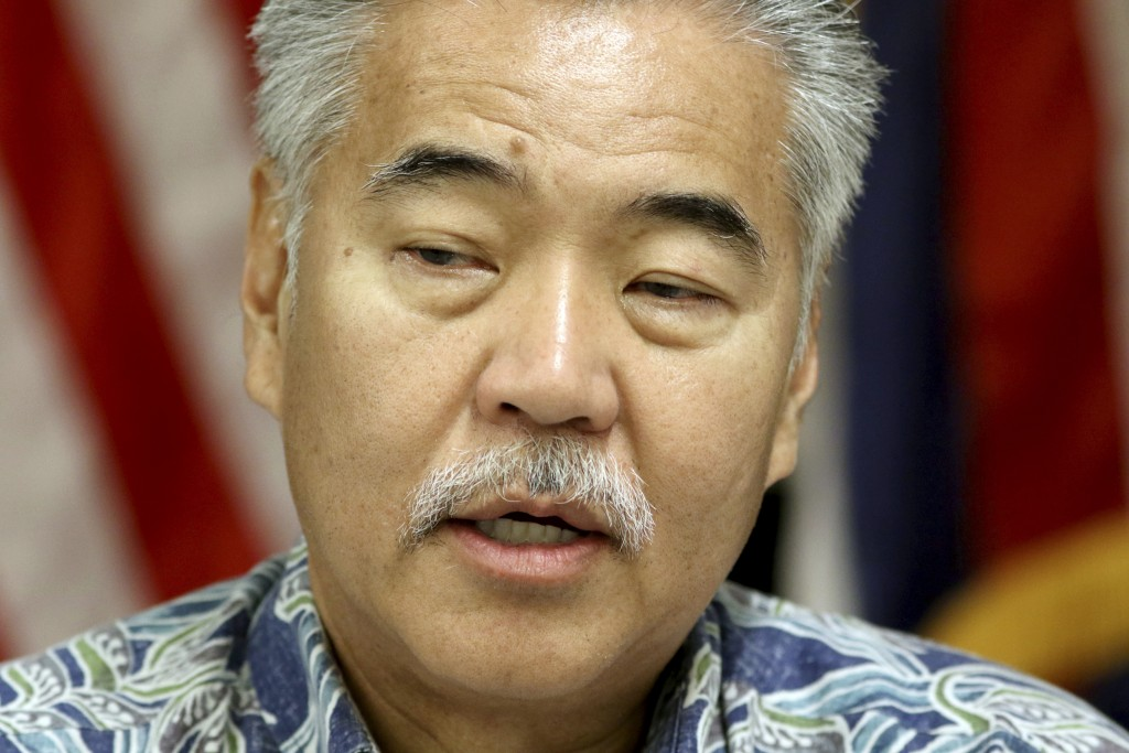 FILE - In this Jan. 30, 2018 file photo, Hawaii Gov. David Ige speaks during a news conference about the state's mistaken missile report in Honolulu.