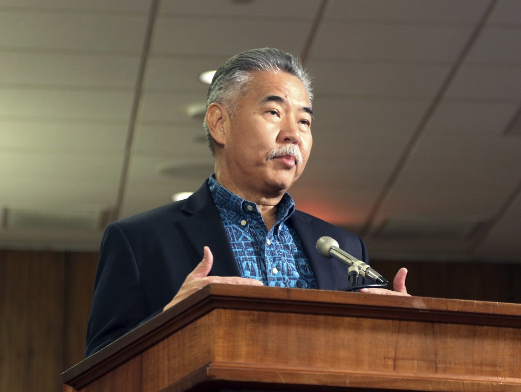 In this Jan. 19, 2018 file photo, Hawaii Gov. David Ige answers questions during a hearing with state lawmakers about a mistaken missile alert in Hono