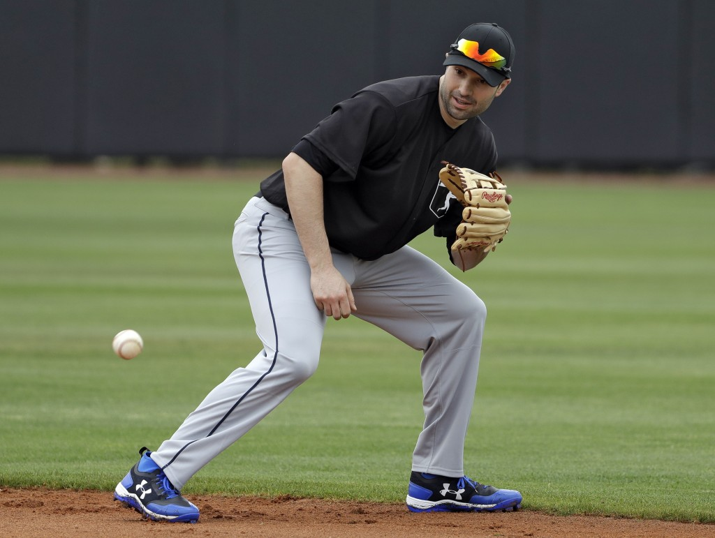 FILE - In this Feb. 27, 2018, file photo, Major League Baseball free agent second baseman Neil Walker fields a ground ball during infield drills befor